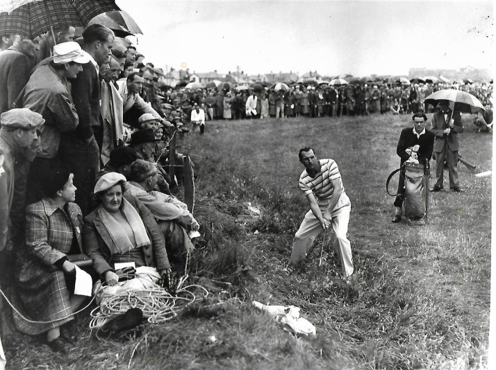 My third to last shot at the 1951 Open, just getting it on the green